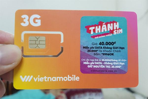 SIM không giới hạn dung lượng data của Vietnamobile.