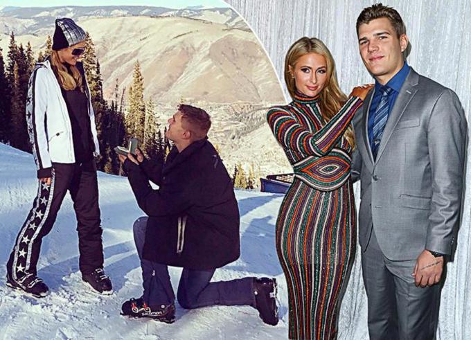 Paris được nam diễn viên Chris Zylka cầu hôn trong kỳ nghỉ năm mới.