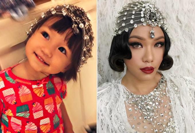 Con gái Phương Vy thích thú đội vương miện đi diễn của mẹ. Nữ ca sĩ cho biết: Mẹ đi diễn về tới là đòi cho bằng được cái vương miện đội đầu của mẹ mới chịu.