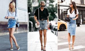 'Bắt chước' cách diện chân váy denim từ fashionista thế giới