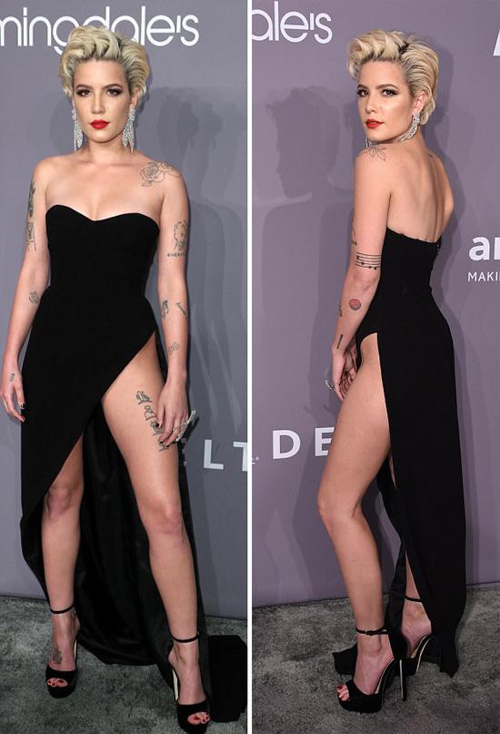 Thực tế, bộ đầm của giọng ca Bad at Love rất dễ bị xảy ra tai nạn lộ hàng trên thảm đỏ vì xẻ cao và vạt quá dài.