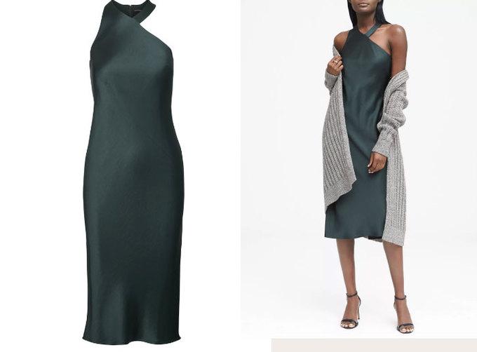 <p> Đầm satin màu xanh sang trọng củaBanana Republic có giá khoảng 3 triệu đồng phù hợp cho các buổi hẹn dưới ánh nến lãng mạn. Nên kết hợp chiếc đầm chất liệu mềm mại cùng các mẫu cao gót có quai mảnh.</p>