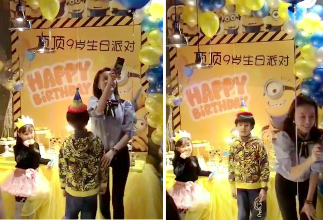 Đổng Khiết tổ chức tiệc sinh nhật cho con trai.
