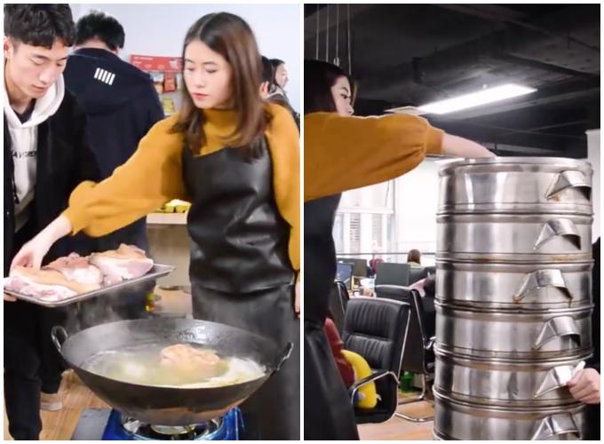 Thánh ăn công sở làm tiệc tất niên cho hơn 20 người bằng một cái chảo