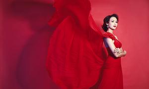 Ngọc Diễm hóa thành quý cô màu đỏ