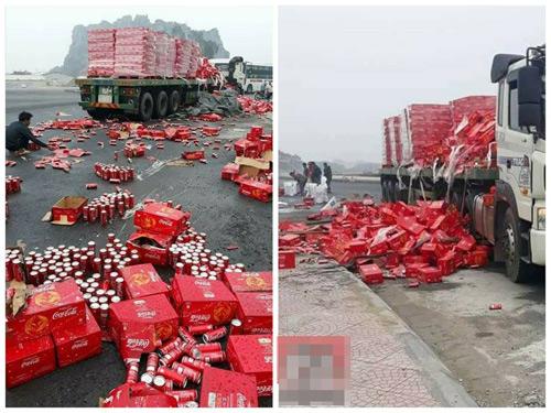 Xe container chở nước ngọt bị đổ ra đường