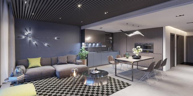 Toàn bộ nội thất các căn hộ cũng được chủ đầu tư trang bị theo phong cách thanh lịch với những gam màu lạnh kết hợp cùng đồ nội thất kim loại độc đáo. Sự ấm cúng từ hiệu ứng của các chất liệu nỉ, da, gỗ được phối hợp hài hoà cùng những mảng màu gam mạnhtrên tường.