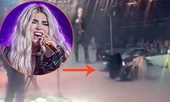 Đang biểu diễn, Kesha bị ngã lộn nhào trên sân khấu