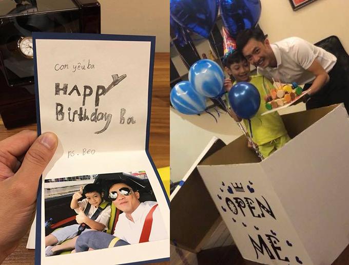 Cường Đôla khoe món quà sinh nhật bất ngờ và tình cảm con trai Subeo dành tặng mình.