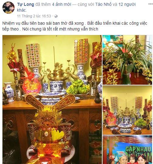 Khi nhà nhà, người người rộn ràng đón Tết, sao Việt cũng không là ngoại lệ. Họ trang hoàng nhà cửa để đón một mùa xuân ấm áp, an lành, và chuẩn bị đón những người bạn đầu năm.Nghệ sĩ Tự Long chia sẻ: Nhiệm vụ đầu tiên bao sái ban thờ đã xong. Bắt đầu triển khai các công việc tiếp theo. Nói chung là Tết rất mệt nhưng vẫn thích. Cùng với đó, anh chia sẻ hình ảnh về không gian sống nhiều màu sắc của hoa địa lan và đồ dùng đặc trưng ngày Tết.