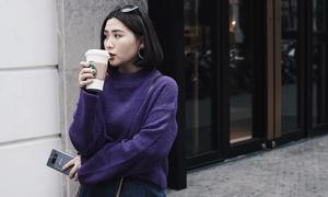 Phối trang phục màu tím tinh tế như Heo Mi Nhon