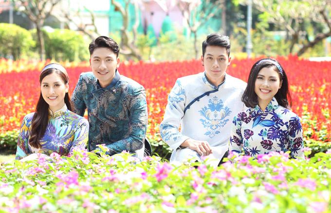 4 nghệ sĩ trẻ rạng rỡ trong trang phục của nhà thiết kế Ngô Nhật Huy, chụp ảnh kỷ niệm Tết 2018.