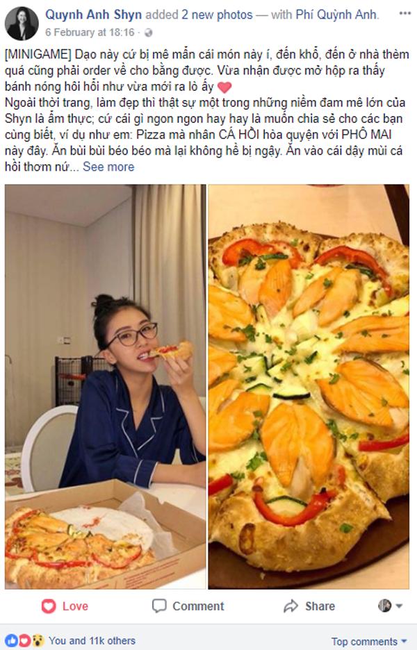 Quỳnh Anh Shyn cho biết, cô mê mẩn món Pizza Hoa Xuân cá hồi,thậm chí thèm quáphải order về nhà để tiếp tục thưởng thức.