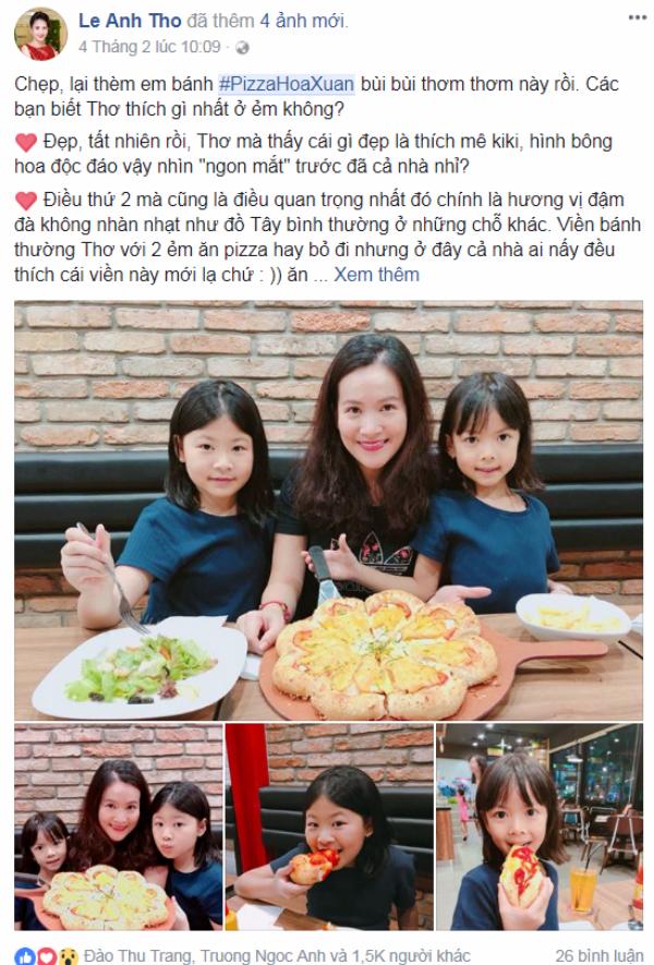 Lê Anh Thơ (vợ diễn viên Bình Minh) than thở rằng hành trình giảm cân còn gian nan vì không thể từ chối món bánhmới của Pizza Hut.