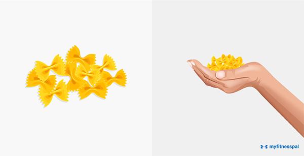 Định lượng cho nhóm ngũ cốc, tinh bột (cơm, mì hoặc các loại ngũ cốc) là một nắm tay đầy.