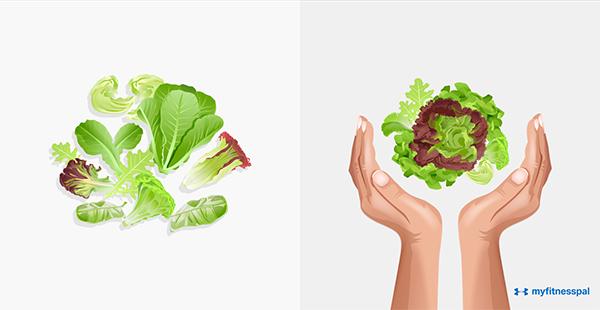 Các loại rau lá xanh nên ăn nhiều, ước lượng khoảng hai bàn tay.