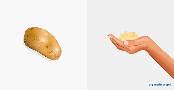 Rau củ chứa tinh bột (khoai tây, ngô, bí, đậu Hà Lan... ) nên
