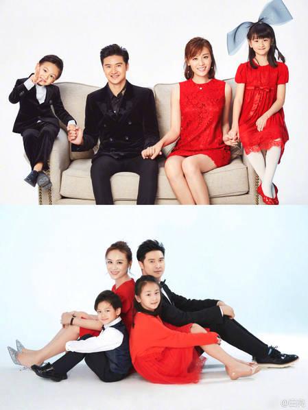 Gia đình Điền Lượng và Diệp Nhất Tây bên hai con nhỏ xinh xắn trong ngày đầu năm mới.