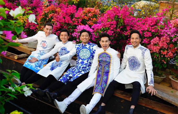 Nhà thiết kế Brian Võ hỗ trợ các nghệ sĩ trang phục áo dài đi dạo phố, du xuân.