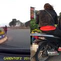 Hai cô gái đi SH trộm hoa ở vòng xuyến Hà Nội