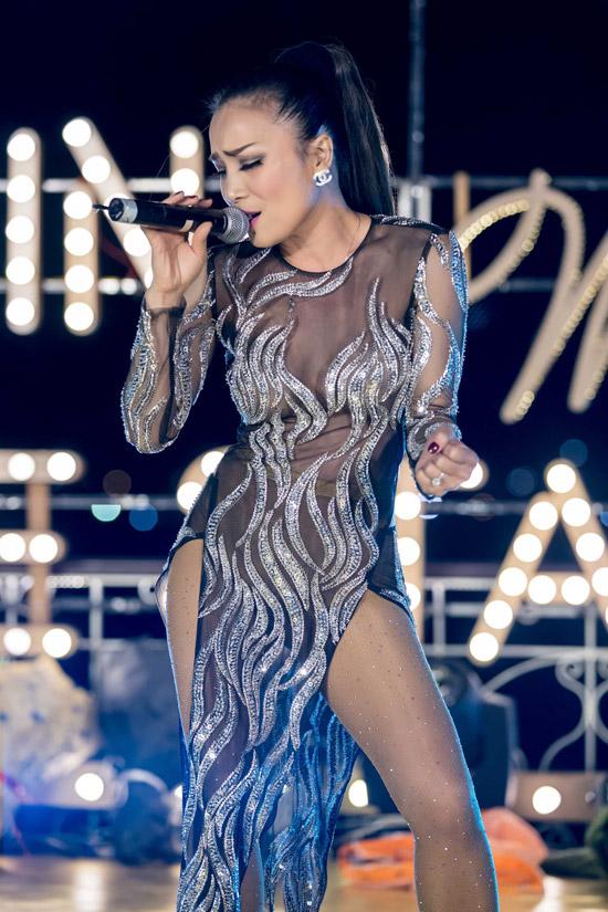 Trong show diễn, Hồng Ngọc thể hiện nhiều bản hit trong sự nghiệp như Vùng trời bình yên, Chuyện thường tình thế thôi...