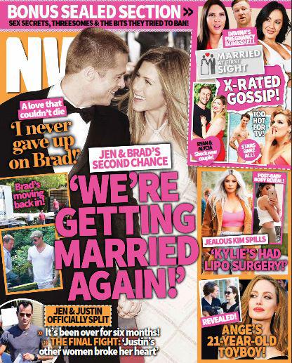 Tạp chí NW cho rằng Jen và Brad đang lên kế hoạch tái hôn.