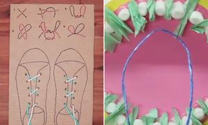 Bé học buộc dây giày, vệ sinh răng miệng qua các món đồ thủ công tự chế