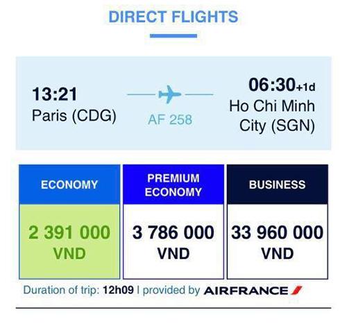 Nhiều du khách Việt đặt được vé 0 đồng của Air France, sau đó bị hãng hủy