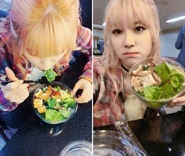 Thực đơn Hyosung tự đặt ra cho mình là Bữa sáng của cô là 2 quả chuối, bữa trưa là 1 cốc sữa đậu nành và bữa tối là 2 quả trứng gà.