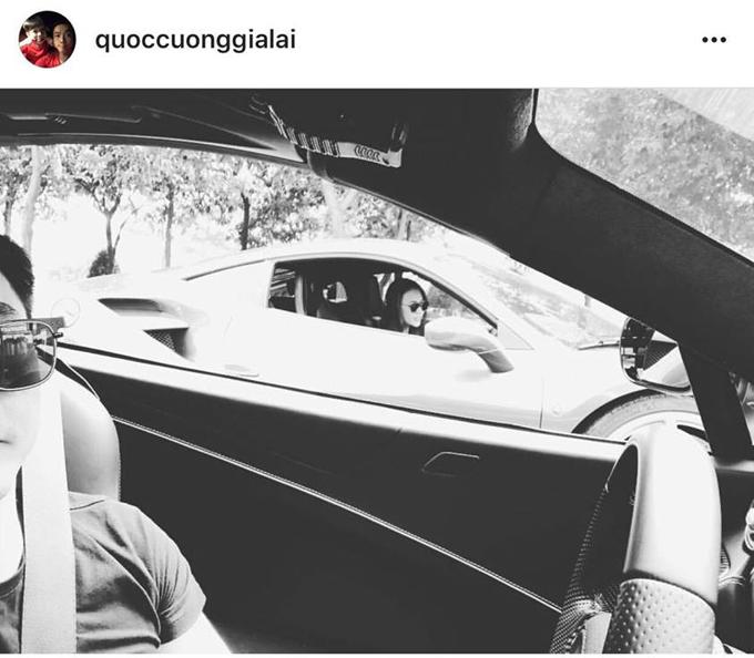 Cặp đôi bắt đầu úp mở hình ảnh nửa kia từ tháng 11/2017. Trong khi Cường Đô La đăng ảnh chụp Đàm Thu Trang ngồi ô tô bên cạnh thì...