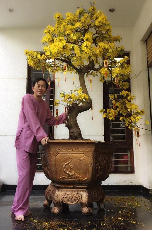 Danh hài Hoài Linh chia sẻ lại hình ảnh ngày mùng 2 Tết bên cây mai nở hoa vàng rực rỡ ở hiên nhà.