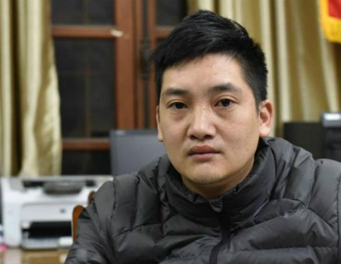 Trần Văn Bằng tại cơ quan điều tra. Ảnh: Bảo Ngọc