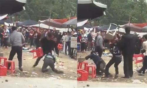 Nam thanh niên bị đuổi đánh. Ảnh: Cắt từ video.