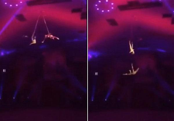 Diễn viên xiếc bị rơi thẳng xuống đất khi đang biểu diễn cùng người anh song sinh.