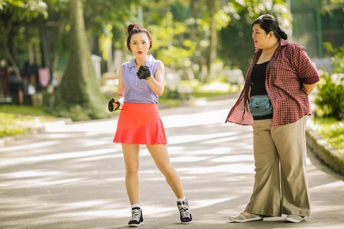 Hồng Ánh mặc đồng phục học sinh, đánh lộn trong phim của Dũng Khùng - 9