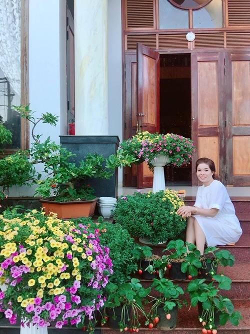 Chị Bích Dung, 45 tuổi, mang cả mùa xuân về căn nhà của mình bằng hàng chục chậu dạ yến thảo, ngọc thảo, dạ ngọc minh châu đua nở đúng dịp Tết.