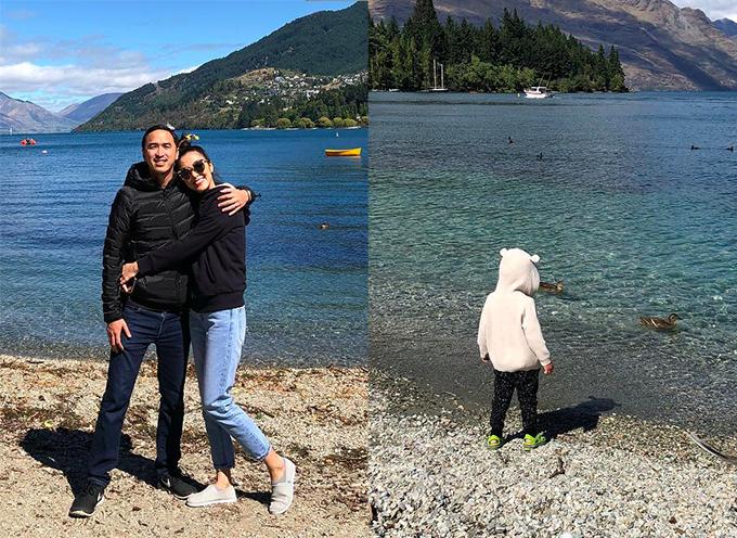 Vợ chồng Tăng Thanh Hà đưa con đi cùng trong chuyến đi tới New Zealand đầu năm.