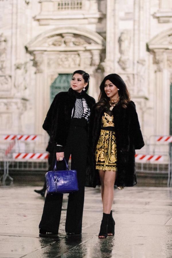 Áo lông ấm áp, trend coat được ưa chuộng ở xứ ôn đới và các kiểu phụ kiện vừa ra lò đều được em chồng Hà Tăng chọn lựa để chưng diện khi đi xem thời trang.