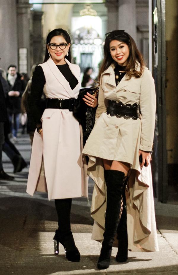 Nữ doanh nhân Thủy Tiên cùng con gái ăn mặc ấn tượng khi đến Milan theo dõi các show diễn của những nhà mốt nổi tiếng thế giới.