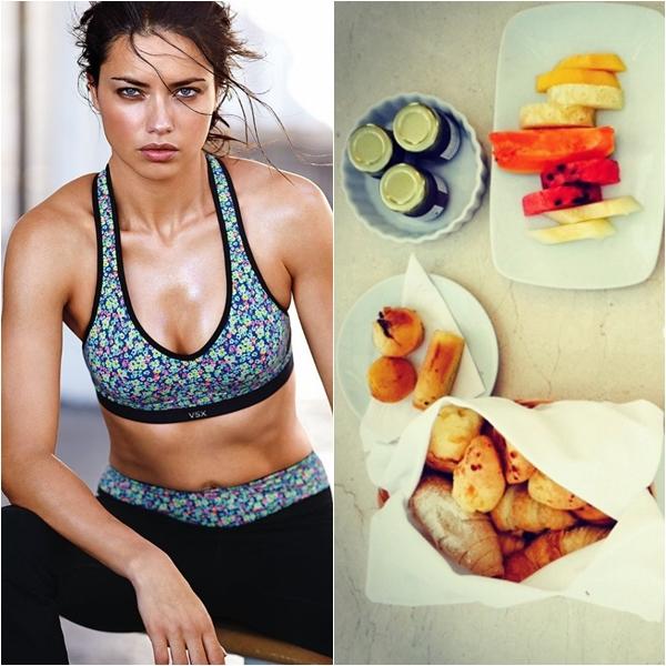 So với các chân dài khác, Adriana Lima có bữa sáng khá linh đình. Cô ăn bánh mì nướng,
