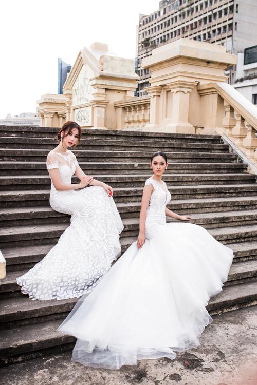 Bên cạnh xu hướng váy cưới tối giản, cô dâu còn có thể lựa chọn các thiết kế kết cườm nổi phù hợp với không gian tổ chức tiệc cưới sang trọng.