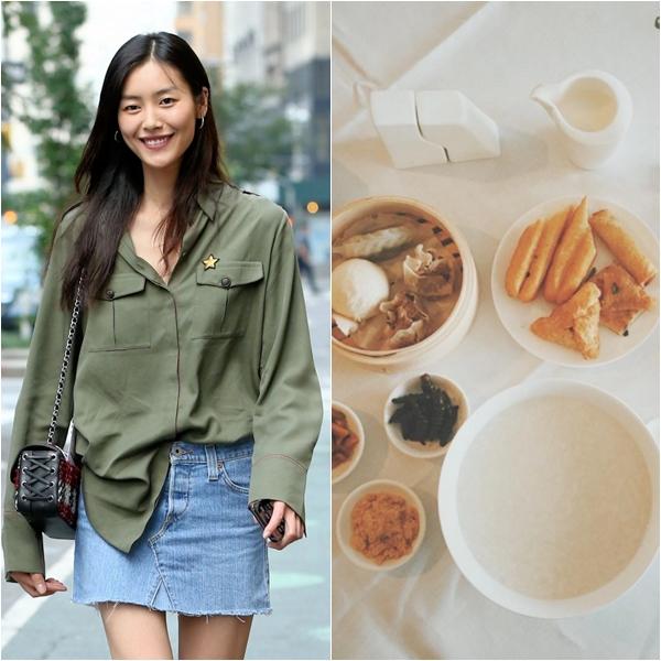 Liu Wen thích thưởng thức bữa sáng theo kiểu Trung Quốc với cháo trắng ăn kèm quẩy vàsữa đậu nành. Ngoài ra, cô cũng dùng thêm hoa quả tươi.