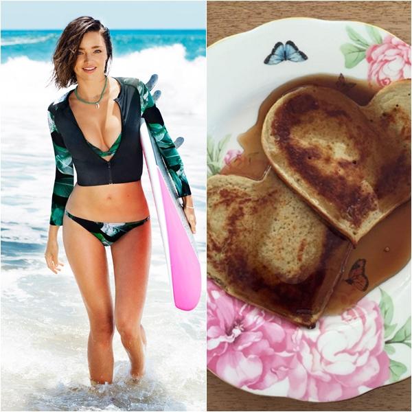 Miranda Kerr bắt đầu ngày mới với món pancake chuối.