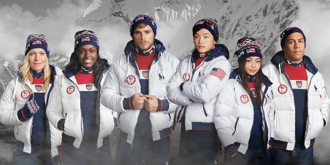 Đồng phục tại lễ bế mạcOlympic PyeongChang của đội tuyển Mỹ.