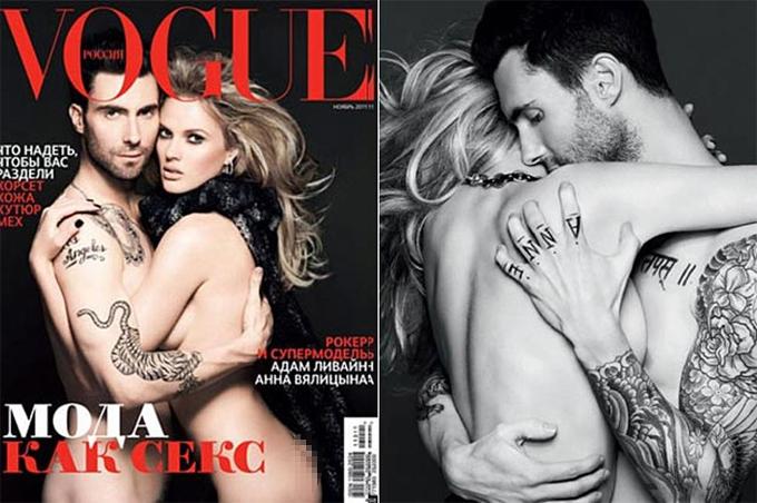 Adam và siêu mẫu Anne Vyalitsyna từng chụp ảnh khỏa thân trên tạp chí Vogue tháng 11/2011.