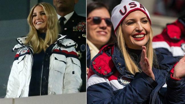 Ivanka Trump diện áo khoác đồng phục đội tuyển Mỹ tạiOlympic PyeongChang.