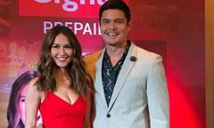 Chồng 'mỹ nhân đẹp nhất Philippines' không ngừng âu yếm vợ tại buổi họp báo