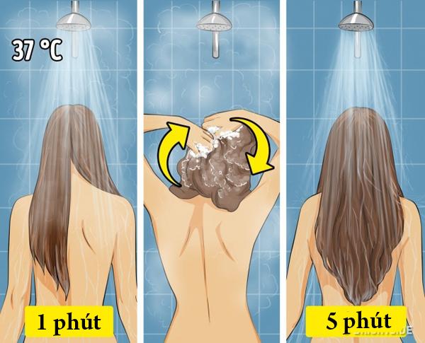 Quy trình gội đầu đúng chuẩn: - Làm ướt toàn bộ tóc trong 1 phút