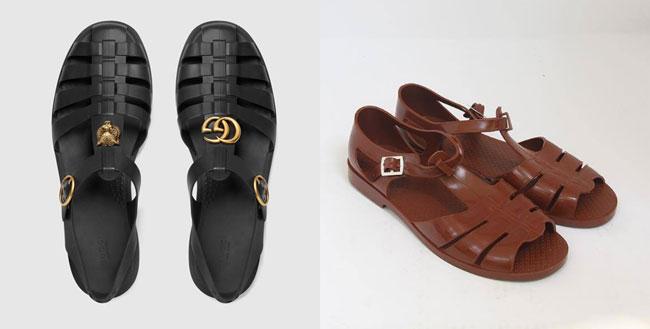 Sandal Gucci (bên trái) có kiểu dáng khá giống với dép rọ bộ đội Việt Nam.