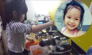 Cô bé 4 tuổi tự ép nước củ, quả uống mỗi ngày